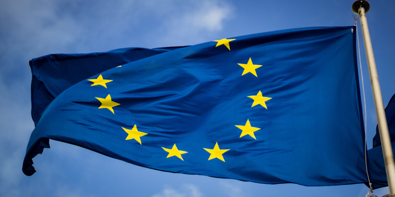 European Union flag blowing in the wind